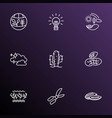 ecology icons line style set with coral reefs vector image vector image