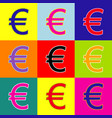 euro sign pop-art style colorful icons vector image vector image