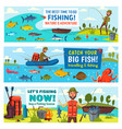 fisherman fish fishing rod boat and equipment vector image