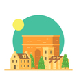 Flat design of Trajans arch Italy with village vector image