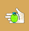 flat shading style icon frag grenade in hand vector image vector image