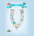 floral letter v with blue ribbon and three doves vector image vector image