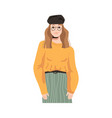 french parisian woman in glasses and beret hat vector image