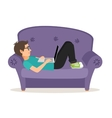 Gamer man lying on sofa with laptop vector image