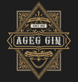 gin label vintage style vector image vector image