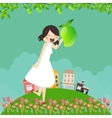 girl cartoon smile happy holding mango fruit with vector image
