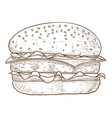 hamburger brown hand drawn sketch vector image