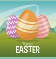 happy easter card egg decoration landscape vector image vector image