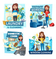 household cooking washing and cleaning service vector image vector image