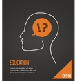 Human head with question and answer marks on black vector image vector image