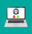 incoming video call on laptop vector image vector image