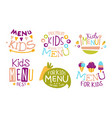 kids menu premium quality labels set organic food vector image vector image