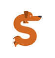 letter s is dog pet font dachshund alphabet vector image vector image