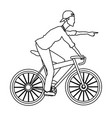 man riding bicycle transport outline vector image vector image