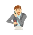 Manager Taking Notes Listening To The Smartphone vector image vector image