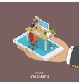 Online job searching isometric flat concept vector image