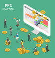ppc campaign flat isometric concept vector image vector image