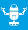 robot on wheels icon white vector image