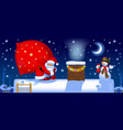 santa claus with a sack on roof vector image