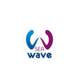 sea wave letter w icon vector image vector image