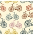Seamless pattern with outline vintage bicycles vector image