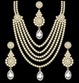set necklace and earrings wedding female vector image vector image