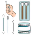 set of cotton swab vector image vector image