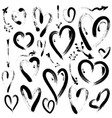 set of hand drawn hearts and arrows grunge brush vector image