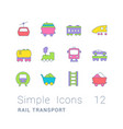set simple line icons rail transport vector image vector image