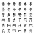 sofa armchair and chair solid icon set vector image vector image