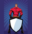 superhero holding shield ray light vertical vector image vector image