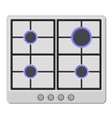Surface of White Gas Hob Stove with Fire On vector image vector image