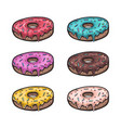 sweets donuts sugar glazed perspective view vector image vector image