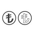 turkish lira sign tl currency symbol vector image vector image