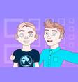 two young men taking selfie photo posing make self vector image vector image