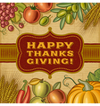 Vintage Happy Thanksgiving Card vector image vector image