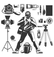 Vintage Photographer Icon Set vector image