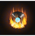 vinyl record on fire a background of musical vector image
