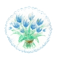 Watercolor bouquet of blue tulips vector image vector image
