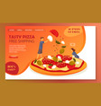 website banner for online pizza orderingfast food vector image
