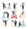 wedding couples bride ceremony celebration wed vector image vector image