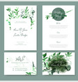 wedding invitation kit with tiny green botanicals vector image vector image