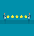 wo businessmen giving five star rank vector image