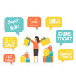 woman at sale making shopping with discount vector image vector image