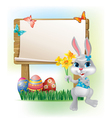 Wooden sign with Easter Bunny vector image vector image
