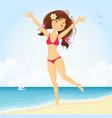 Jumping beach girl vector image