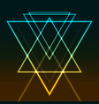 abstract glowing neon colorful triangles retro vector image vector image