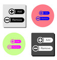 add and remove flat icon vector image