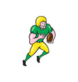 American Football Receiver Running Ball Cartoon vector image vector image