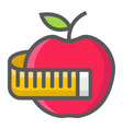 apple with measuring tape filled outline icon vector image vector image